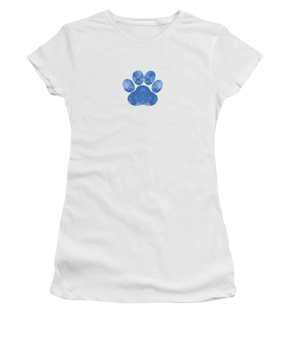 Dog Women's T-Shirt (Athletic Fit) featuring the painting Dog Paw Print by Steph J Marten