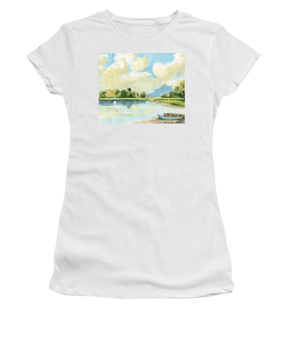 Lake Women's T-Shirt (Athletic Fit) featuring the painting Fishing Lake by Alban Dizdari