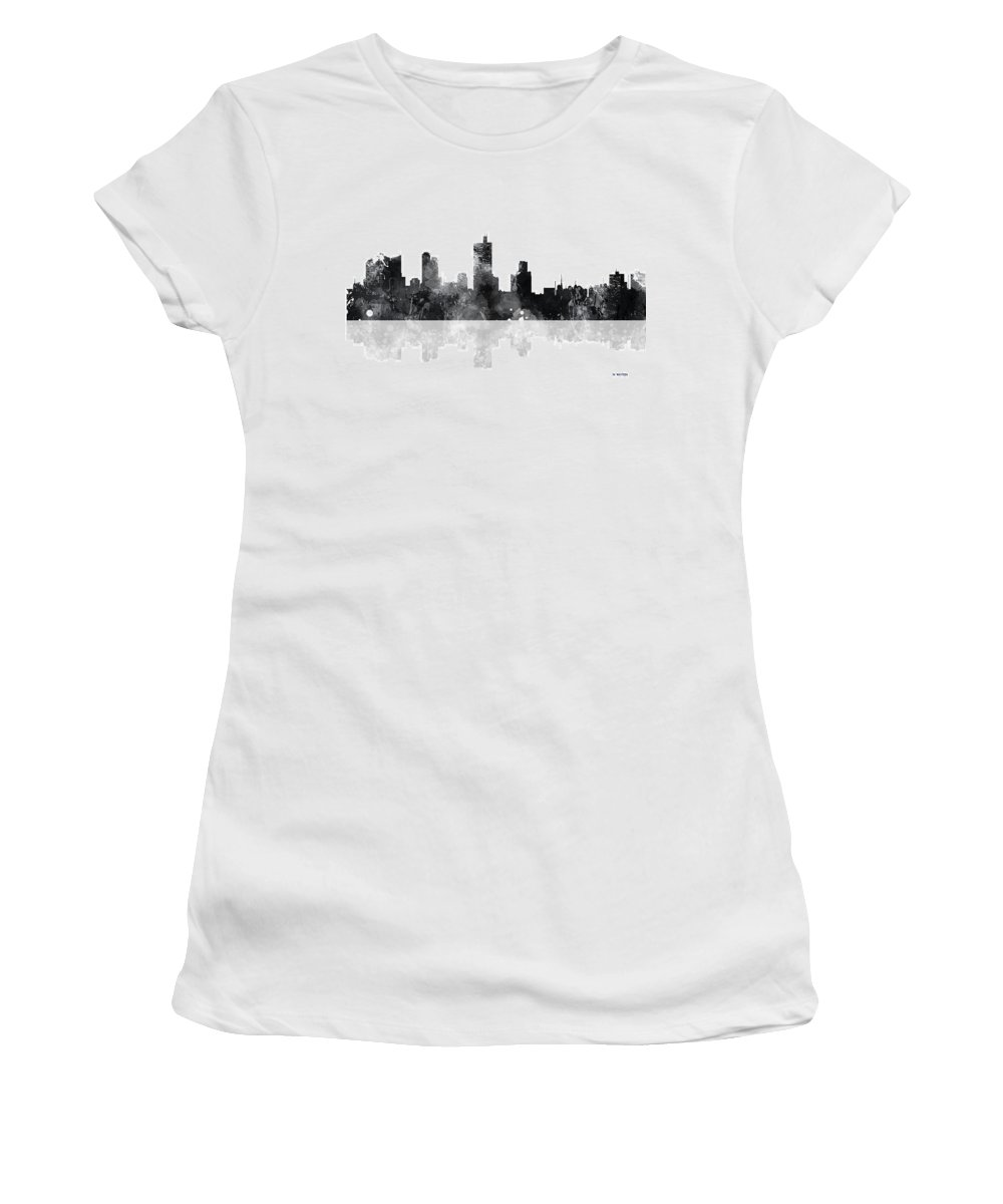 Fort Worth Texas Skyline Women's T-Shirt featuring the digital art Fort Worth Texas Skyline by Marlene Watson