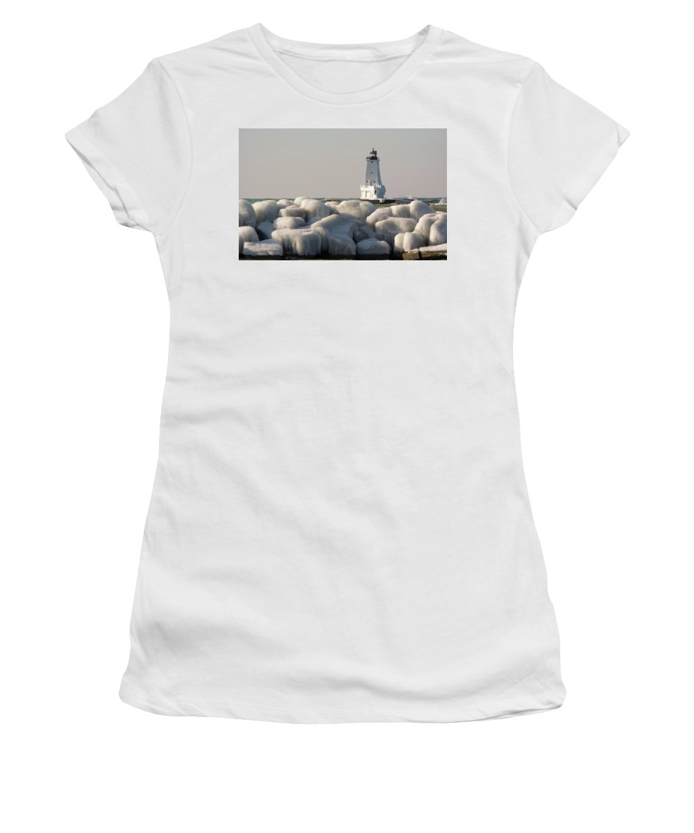 Great Lake Women's T-Shirt (Athletic Fit) featuring the photograph Icy Light by Linda Kerkau