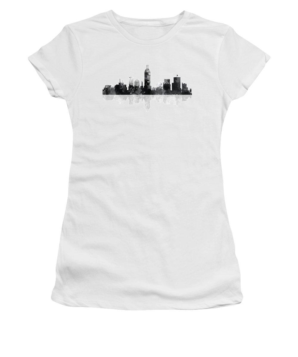 Indiana Indianapolis Skyline Women's T-Shirt featuring the digital art Indiana Indianapolis Skyline by Marlene Watson