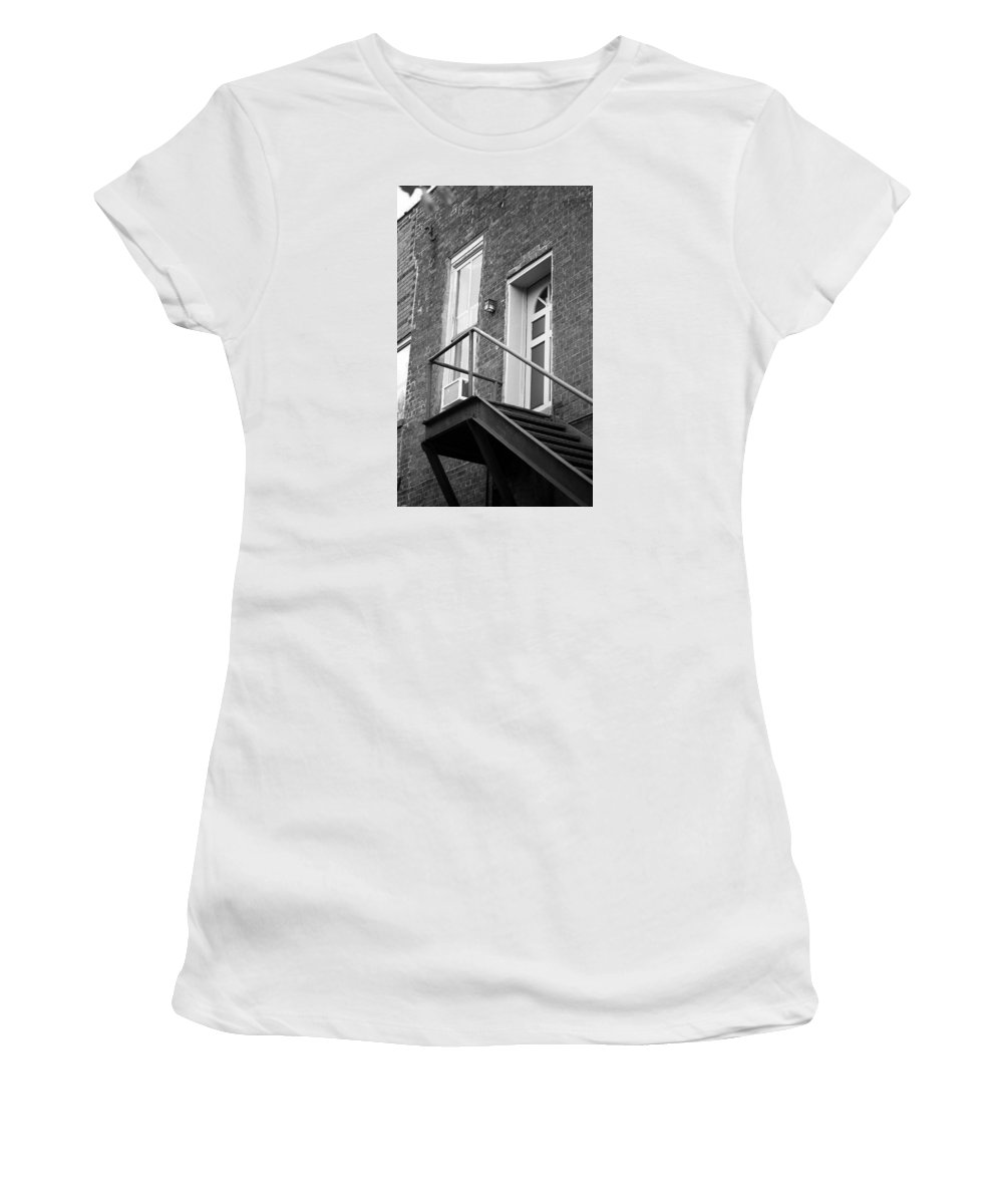 America Women's T-Shirt (Athletic Fit) featuring the photograph Jonesborough Tennessee - Upstairs Neighbors by Frank Romeo