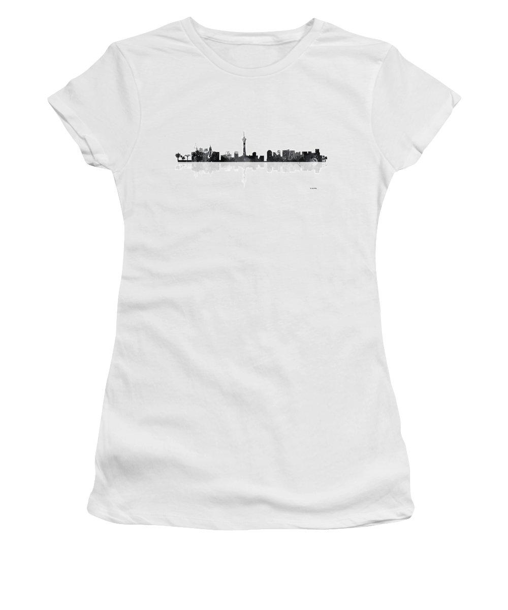 Las Vegas Nevada Skyline Women's T-Shirt featuring the digital art Las Vegas Nevada Skyline by Marlene Watson
