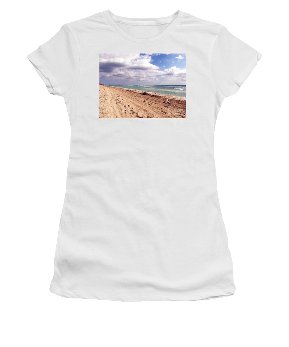 Beaches Women's T-Shirt (Athletic Fit) featuring the photograph Miami Beach by Amanda Barcon