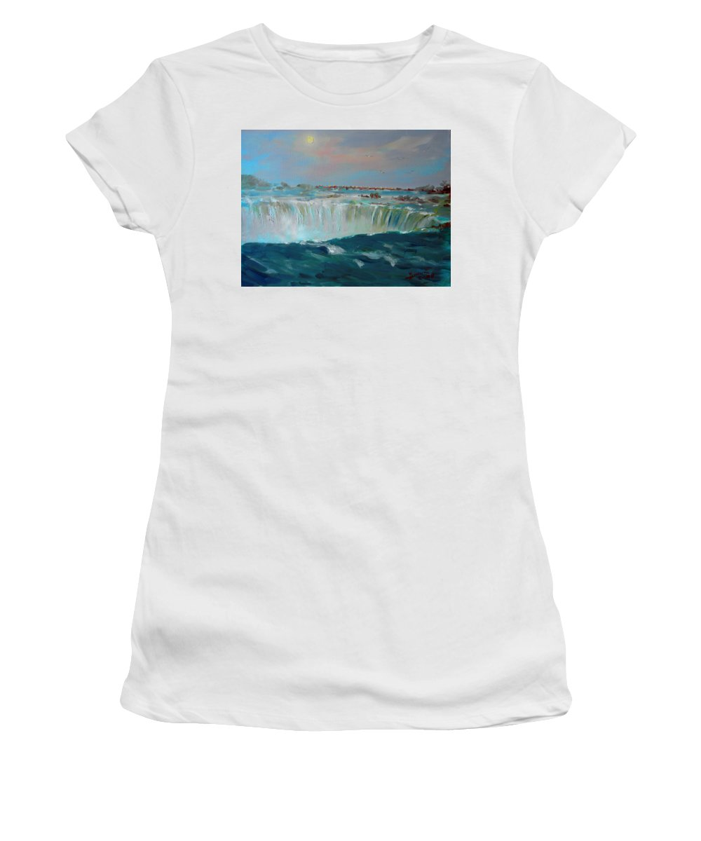 Landscape Women's T-Shirt (Athletic Fit) featuring the painting Niagara Falls by Ylli Haruni