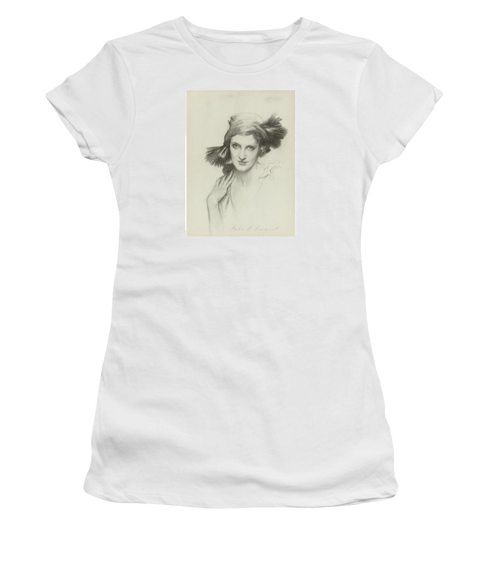 John Singer Sargent 1856-1925 Portrait Of The Honourable Mrs. Reginald (daisy) Fellowes Women's T-Shirt (Athletic Fit) featuring the painting Portrait Of The Honourable by John Singer