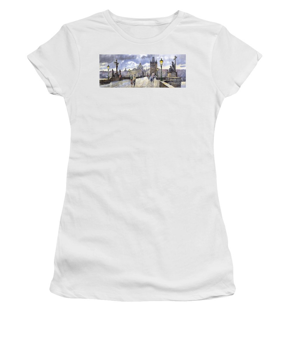 Watercolour Women's T-Shirt featuring the painting Prague Charles Bridge by Yuriy Shevchuk