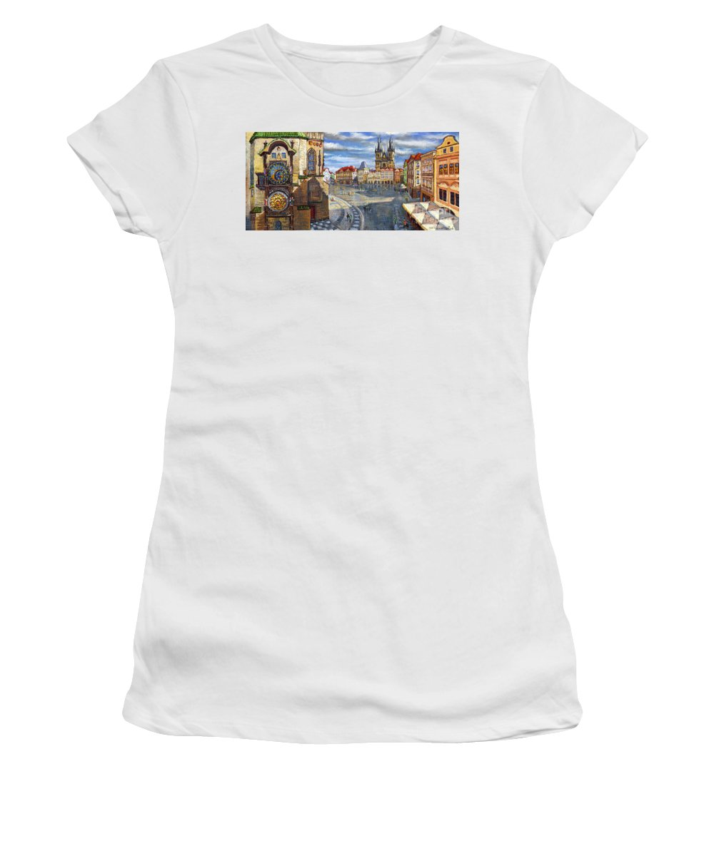 Pastel Women's T-Shirt (Athletic Fit) featuring the painting Prague Old Town Squere by Yuriy Shevchuk