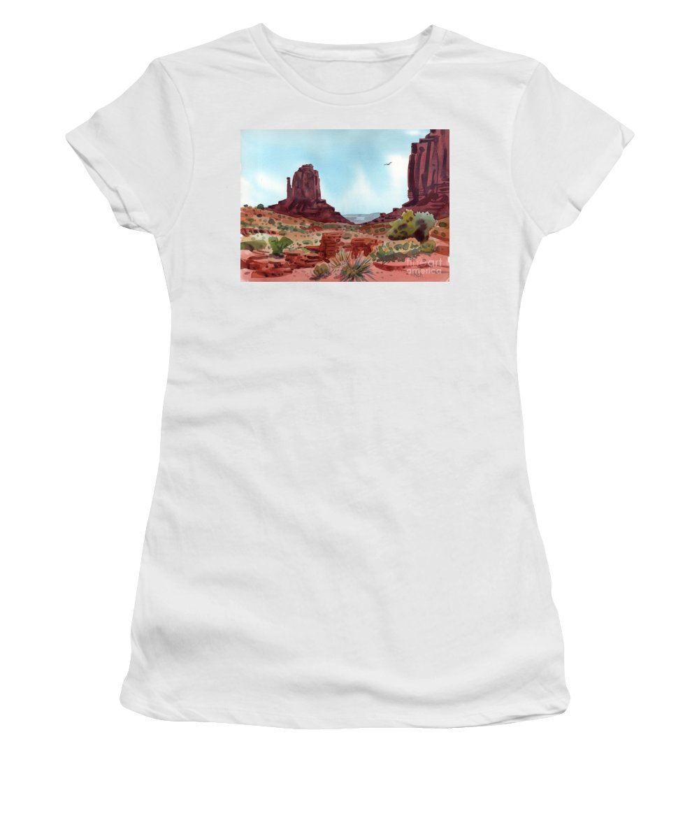 Right Mitten Women's T-Shirt (Athletic Fit) featuring the painting Right Mitten by Donald Maier