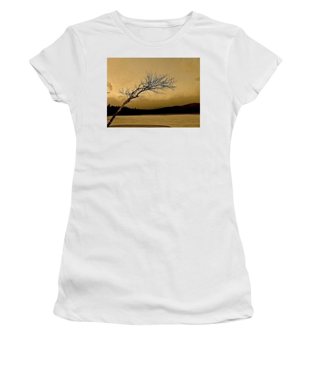 Lake Women's T-Shirt (Athletic Fit) featuring the photograph Solitude In A New Key by Elizabeth Tillar