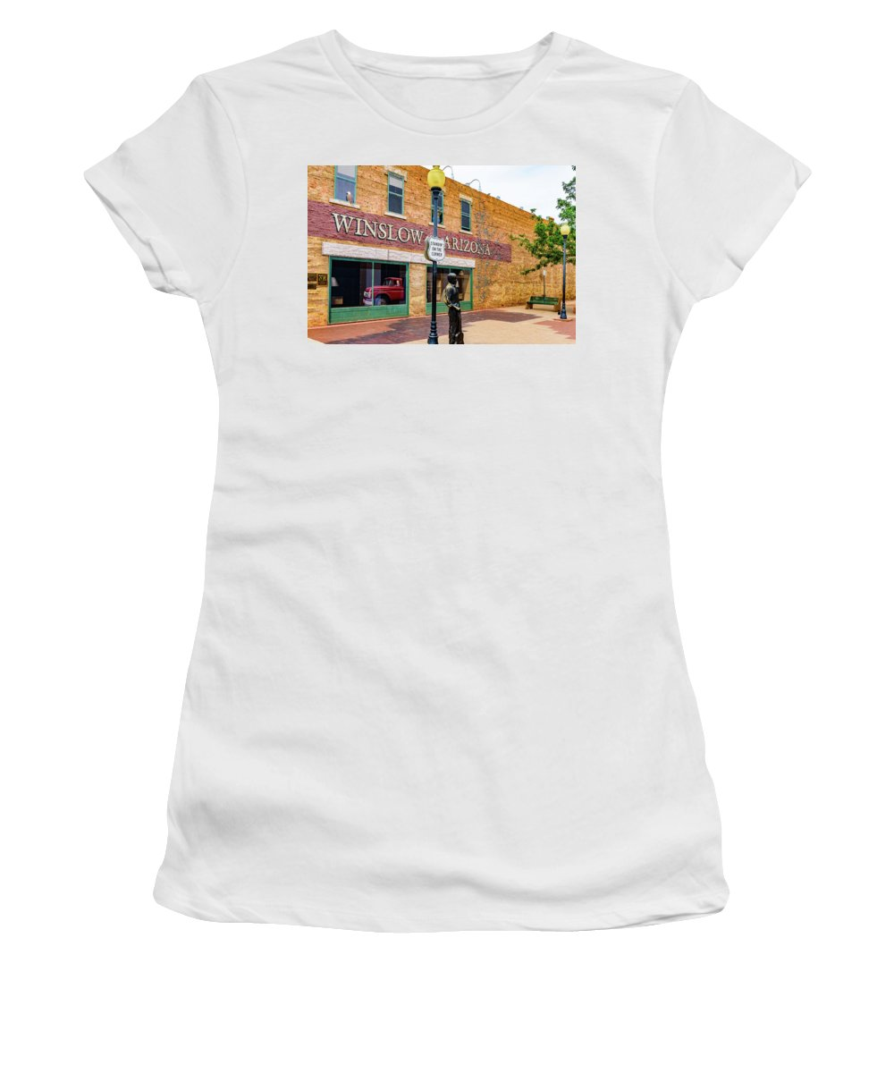 Winslow Women's T-Shirt featuring the photograph Standing On The Corner - Winslow Arizona by Jon Berghoff
