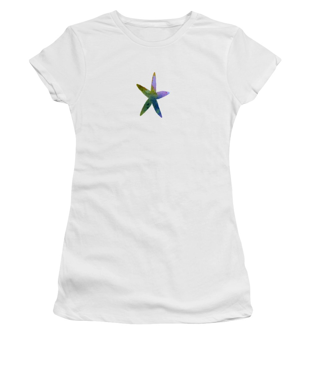 Starfish Women's T-Shirt (Athletic Fit) featuring the painting Starfish by Steph J Marten