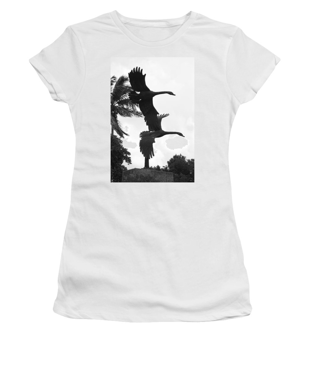 Black And White Women's T-Shirt (Athletic Fit) featuring the photograph Stone Birds by Rob Hans