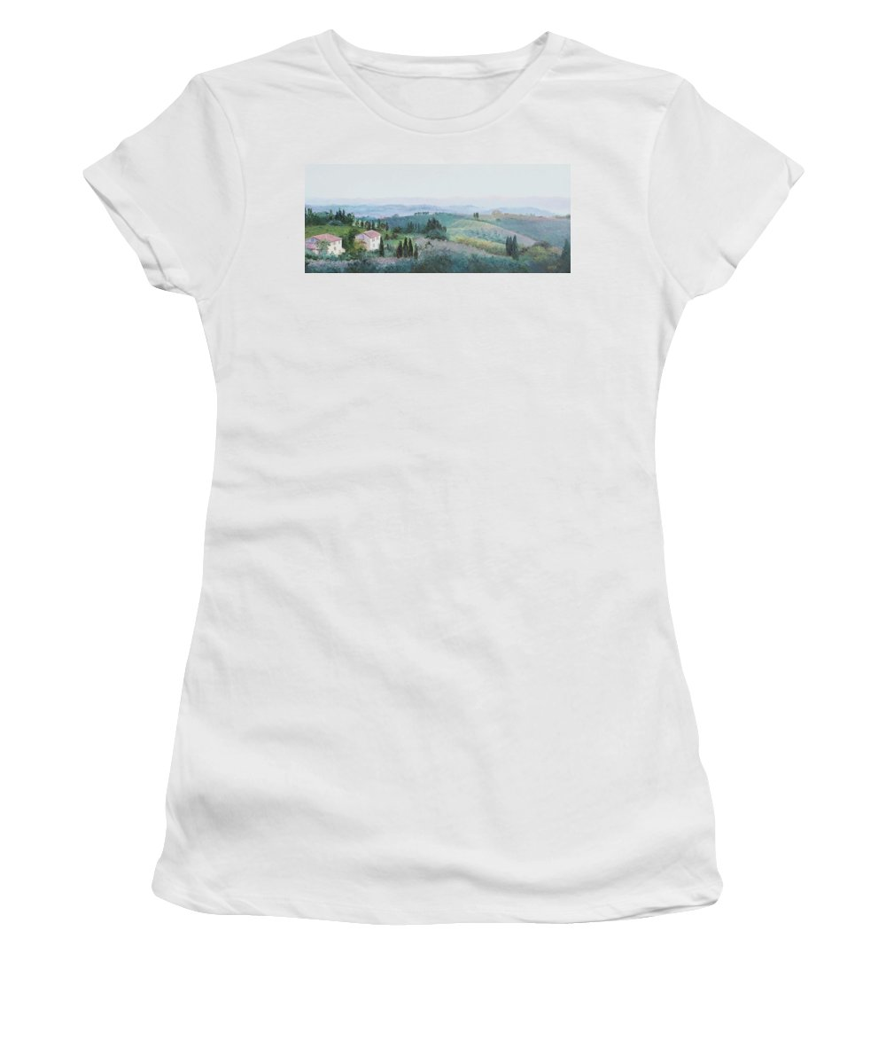 Tuscany Women's T-Shirt featuring the painting The Rolling Hills Of Tuscany by Jan Matson
