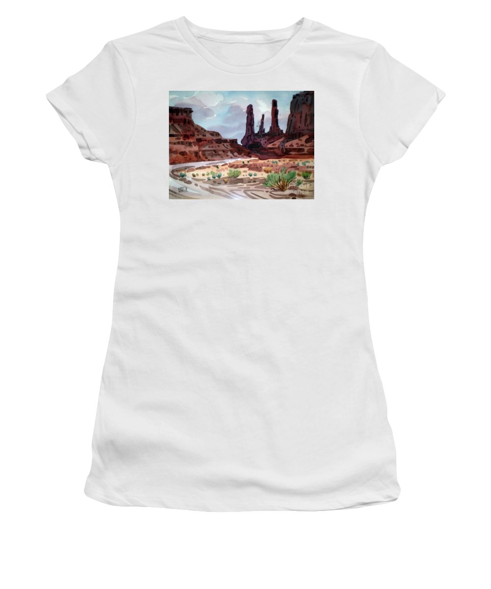 Monument Valley Women's T-Shirt (Athletic Fit) featuring the painting Three Sisters by Donald Maier