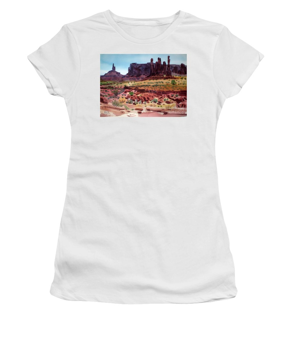 Monument Valley Women's T-Shirt (Athletic Fit) featuring the painting Totem Poles by Donald Maier