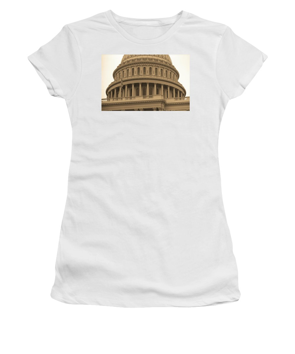America Women's T-Shirt featuring the photograph United States Capitol Building Sepia by Frank Romeo