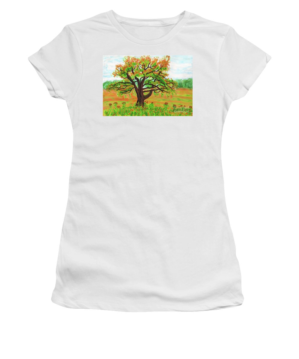 Painting Women's T-Shirt (Athletic Fit) featuring the painting Willow Tree, Painting by Irina Afonskaya