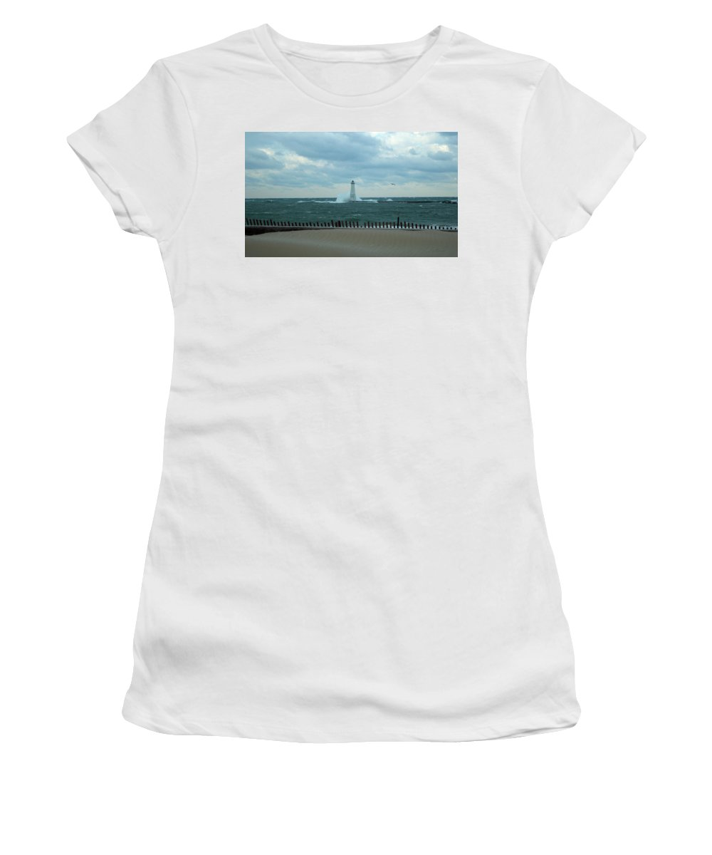 Great Lake Women's T-Shirt (Athletic Fit) featuring the photograph Winter Waves by Linda Kerkau