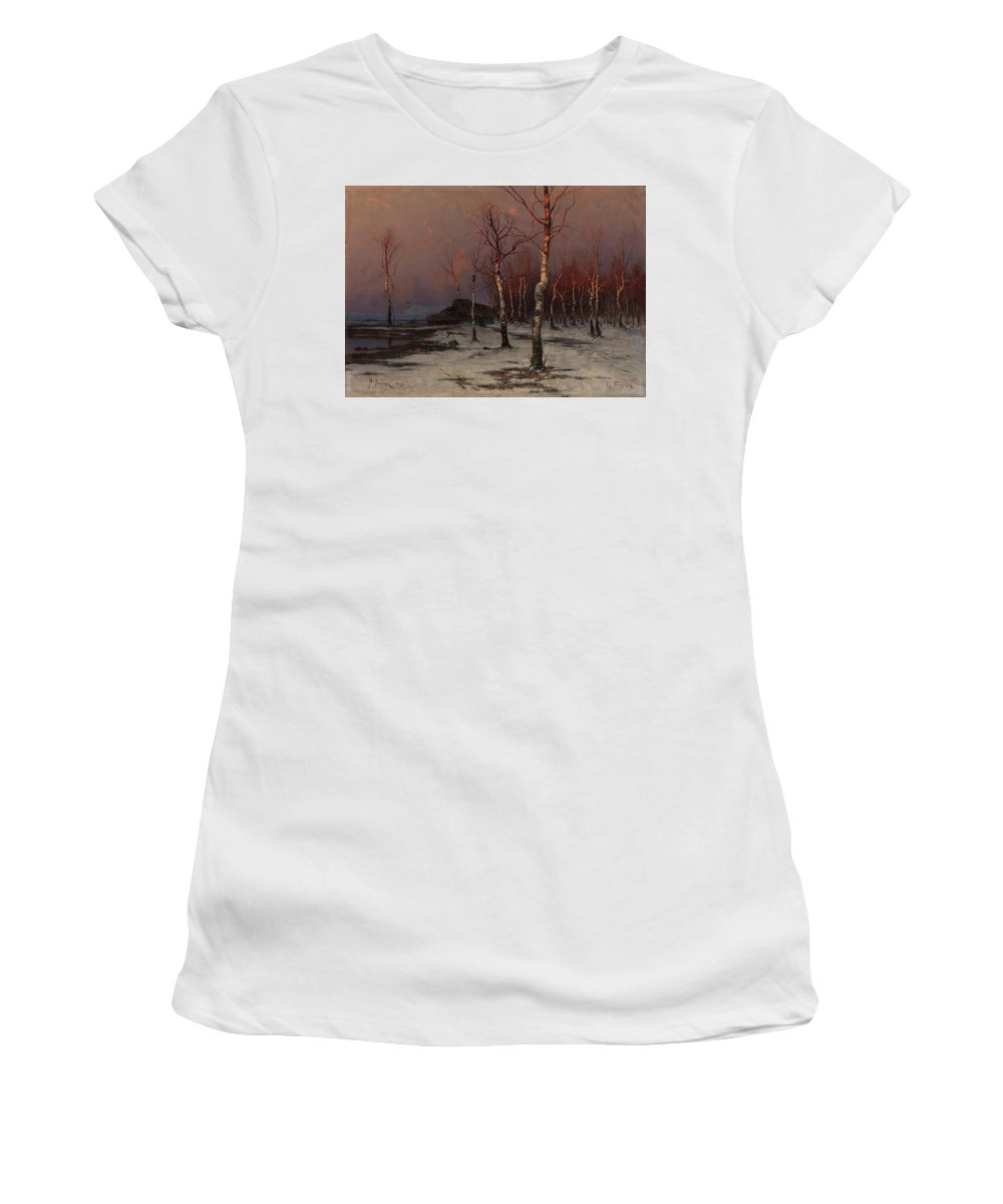 Klever Women's T-Shirt (Athletic Fit) featuring the painting Winter Landscape by MotionAge Designs