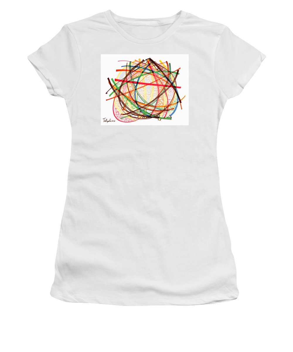 Abstract Art Women's T-Shirt featuring the drawing 2010 Abstract Drawing Fifteen by Lynne Taetzsch