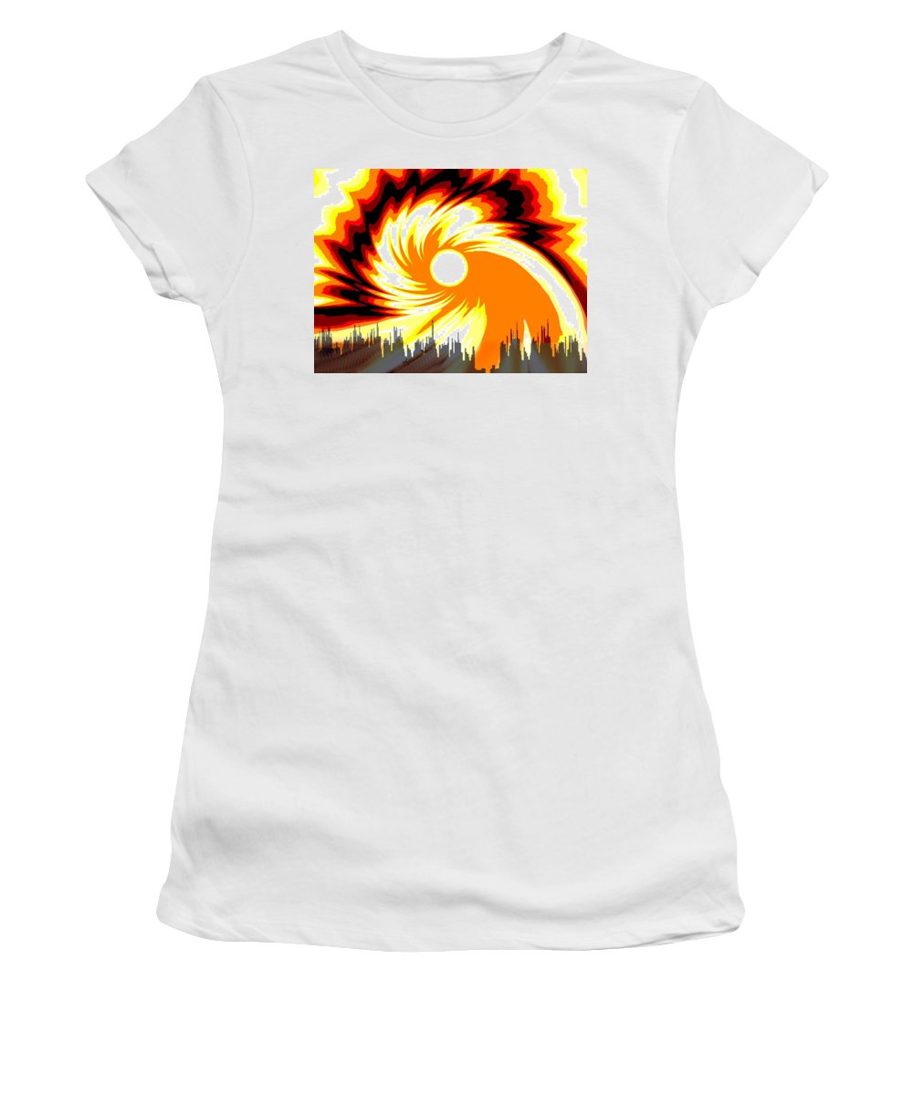 205 - Poster Climate Change 2 ... Burning Summer Sun Women's T-Shirt (Athletic Fit) featuring the digital art 205 - Poster Climate Change 2 ... Burning Summer Sun by Irmgard Schoendorf Welch