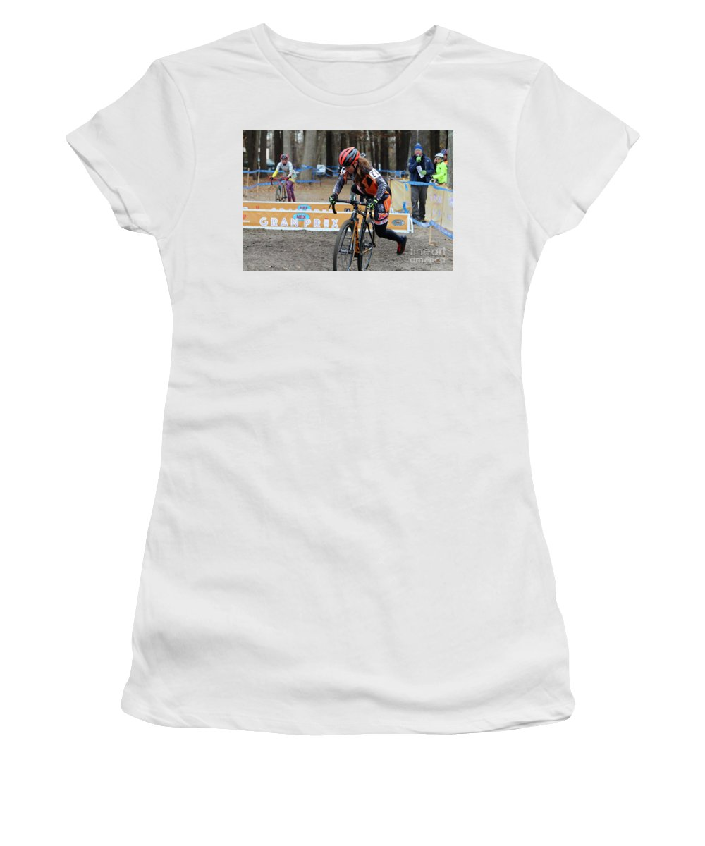 Longsjo Classic Women's T-Shirt (Athletic Fit) featuring the photograph Fearless Femme Racing by Donn Ingemie