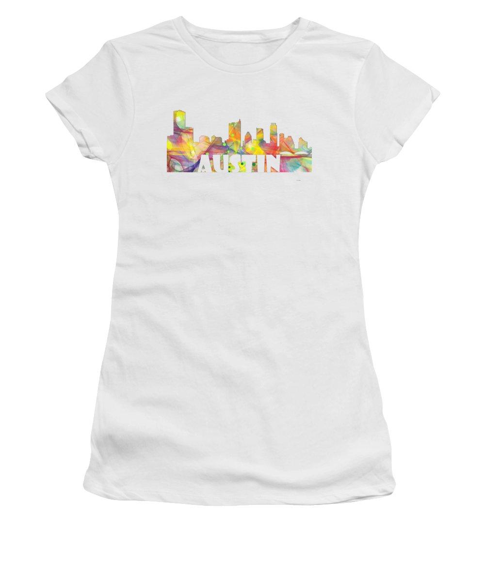 Austin Texas Skyline Women's T-Shirt featuring the photograph Austin Texas Skyline by Marlene Watson