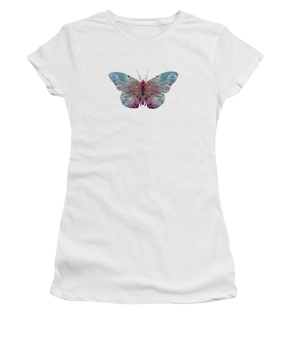 Butterfly Women's T-Shirt (Athletic Fit) featuring the painting Butterfly by Steph J Marten