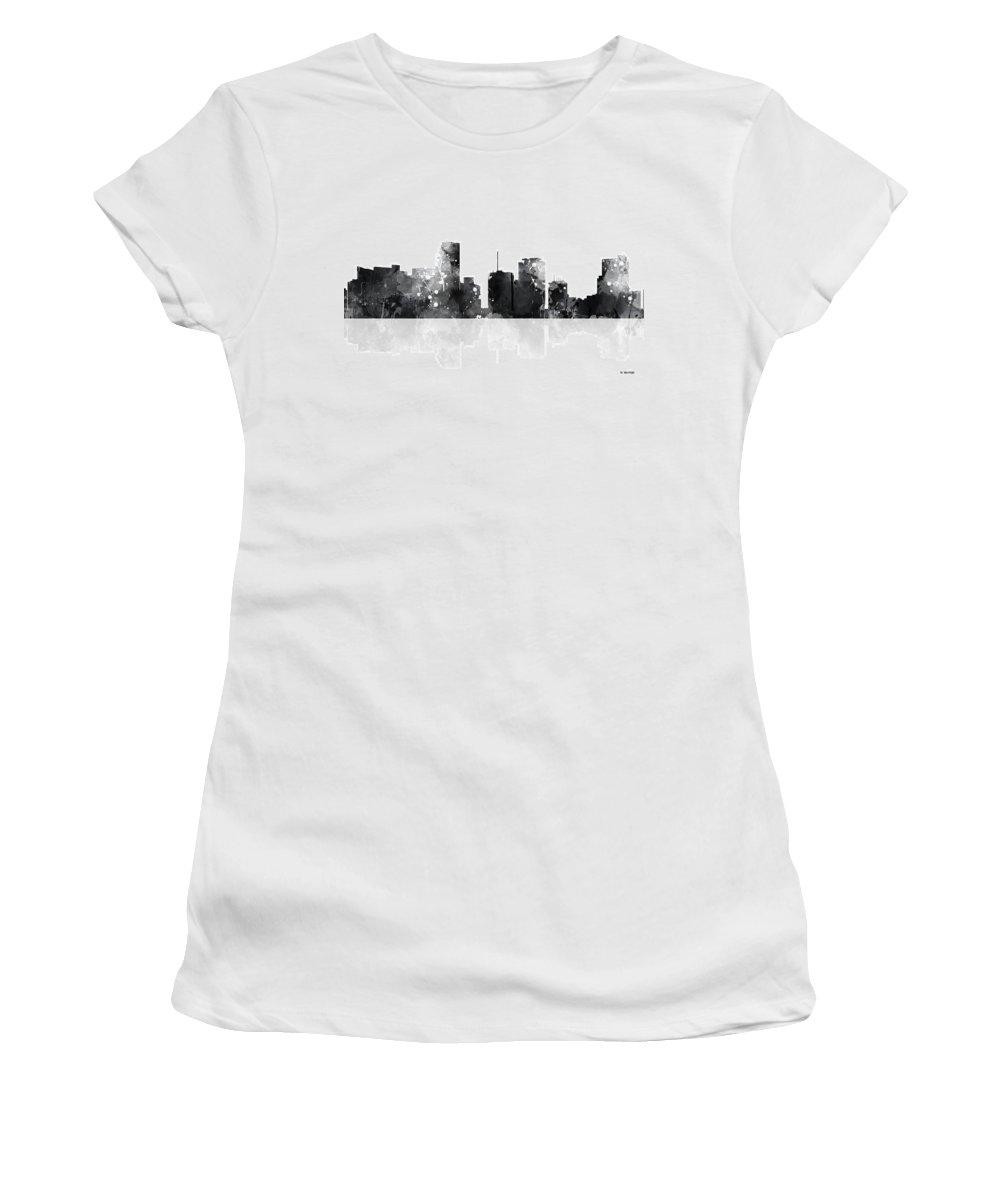 Miami Florida Skyline Women's T-Shirt featuring the digital art Miami Florida Skyline by Marlene Watson