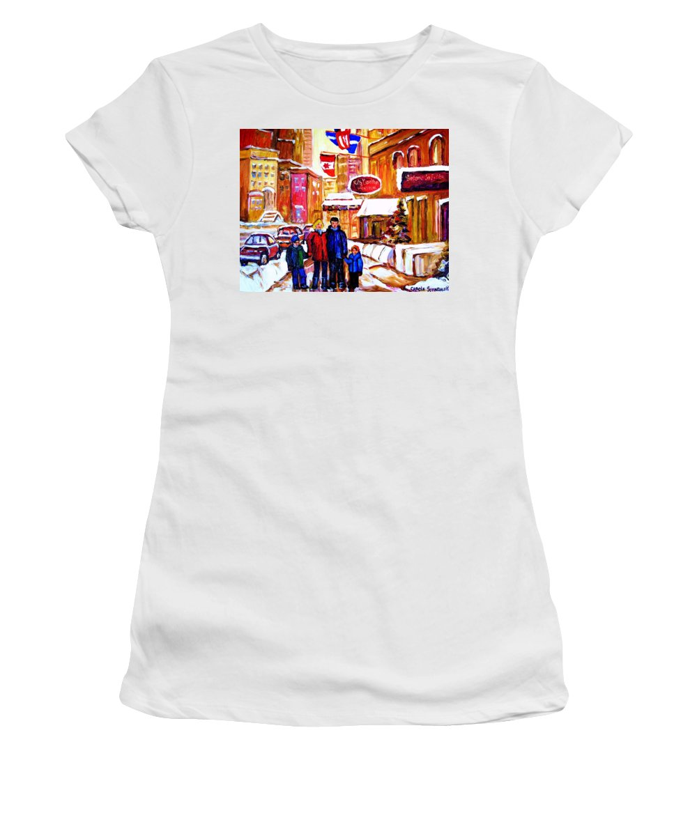 Montreal Women's T-Shirt (Athletic Fit) featuring the painting Montreal Street In Winter by Carole Spandau
