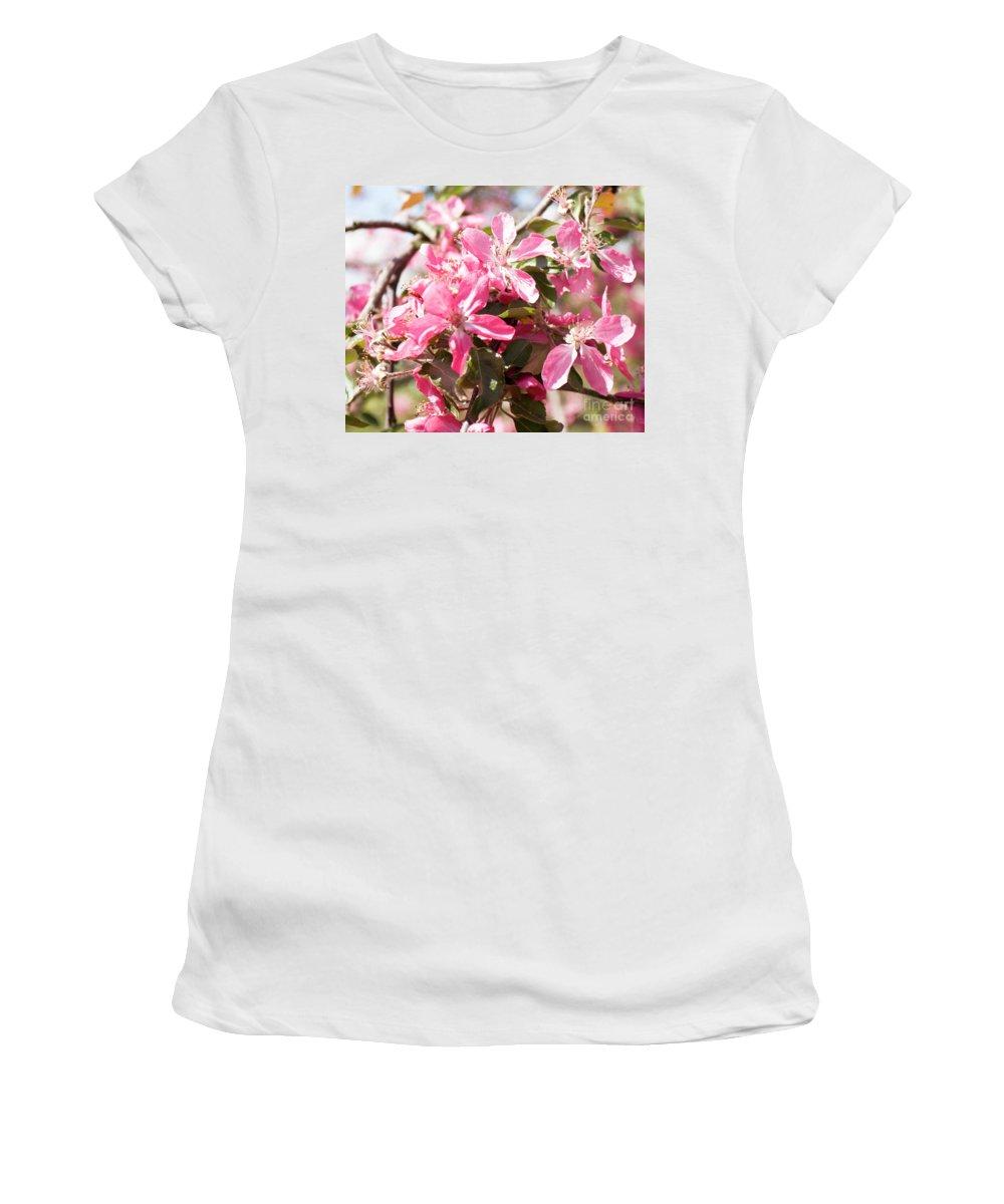 Cherry Women's T-Shirt featuring the photograph Pink Cherry Tree by Irina Afonskaya