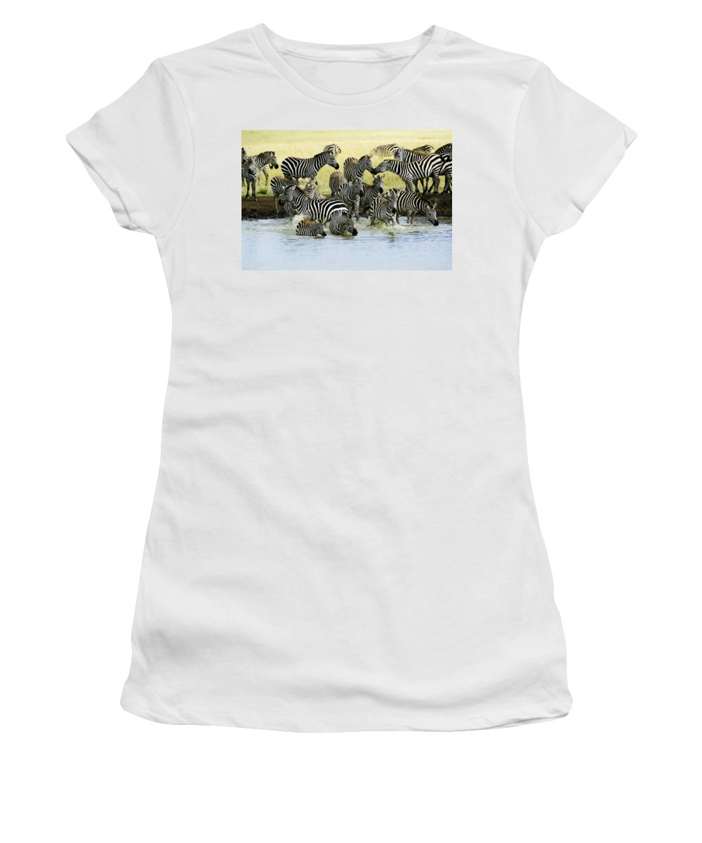 Africa Women's T-Shirt (Athletic Fit) featuring the photograph Quenching Their Thirst by Michele Burgess
