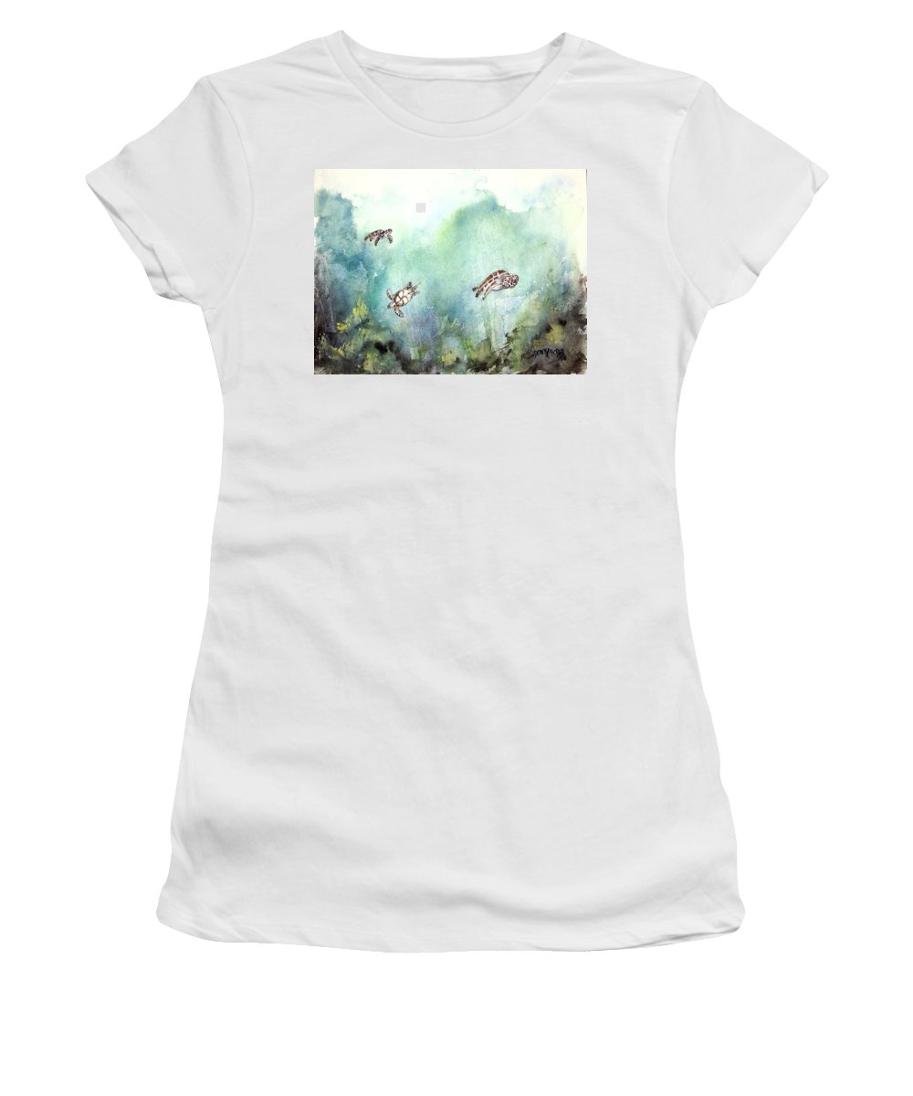 Turtle Women's T-Shirt (Athletic Fit) featuring the painting 3 Sea Turtles by Derek Mccrea