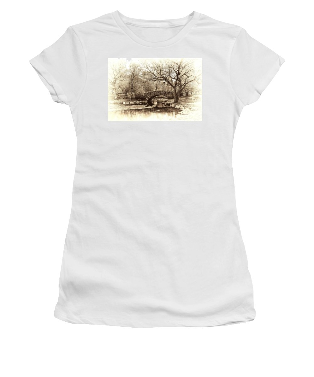 New York Women's T-Shirt featuring the photograph South Bridge - Central Park by Jeff Watts
