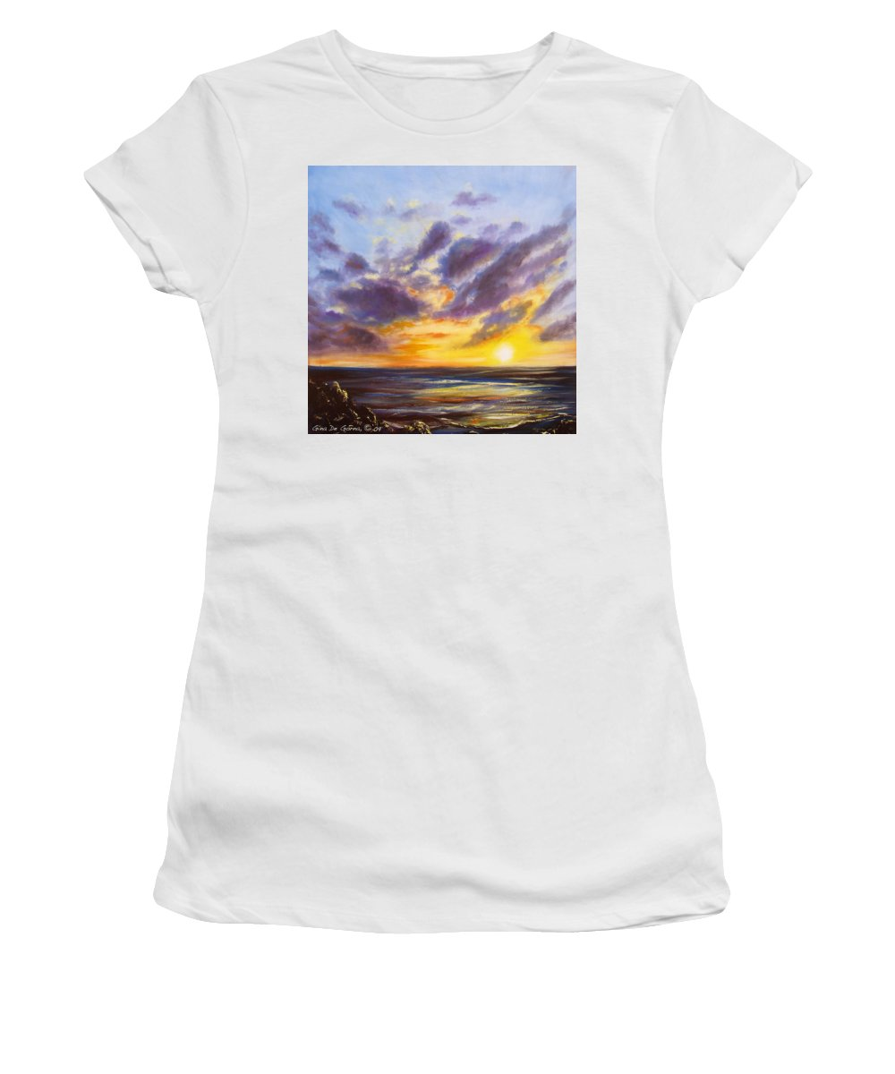Tropical Women's T-Shirt (Athletic Fit) featuring the painting Tropical Sunset by Gina De Gorna