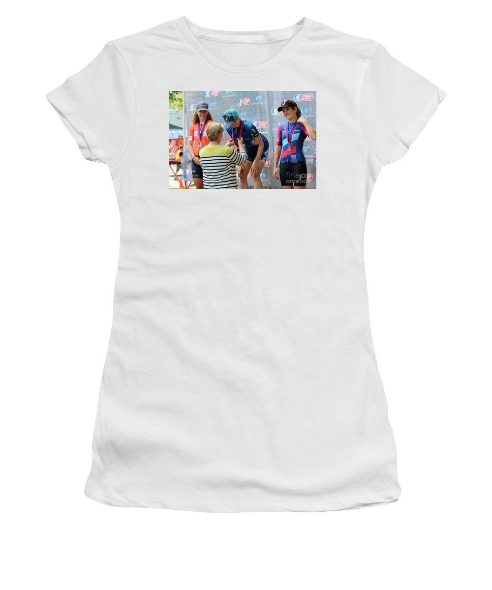 Fearless Femme Racing Women's T-Shirt featuring the photograph Fearless Femme Racing by Donn Ingemie