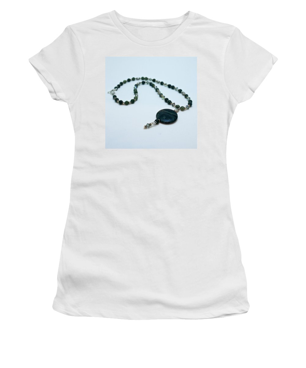 Handmade Women's T-Shirt (Athletic Fit) featuring the jewelry 3577 Kambaba And Green Lace Jasper Necklace by Teresa Mucha