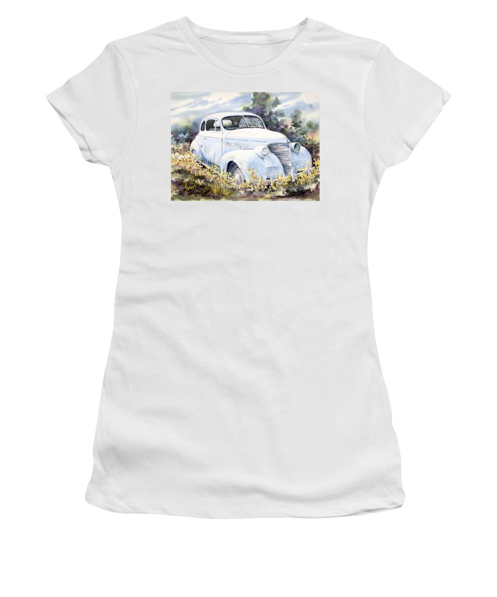 Automobile Women's T-Shirt featuring the painting 39 Chevy by Sam Sidders
