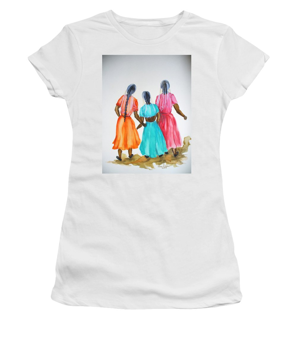 Three Ladies East Indian Women's T-Shirt (Athletic Fit) featuring the painting 3bff by Karin Dawn Kelshall- Best
