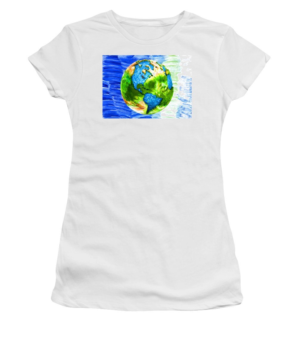 3d Render Of Planet Earth Women's T-Shirt (Athletic Fit) featuring the digital art 3d Render Of Planet Earth 11 by Jeelan Clark