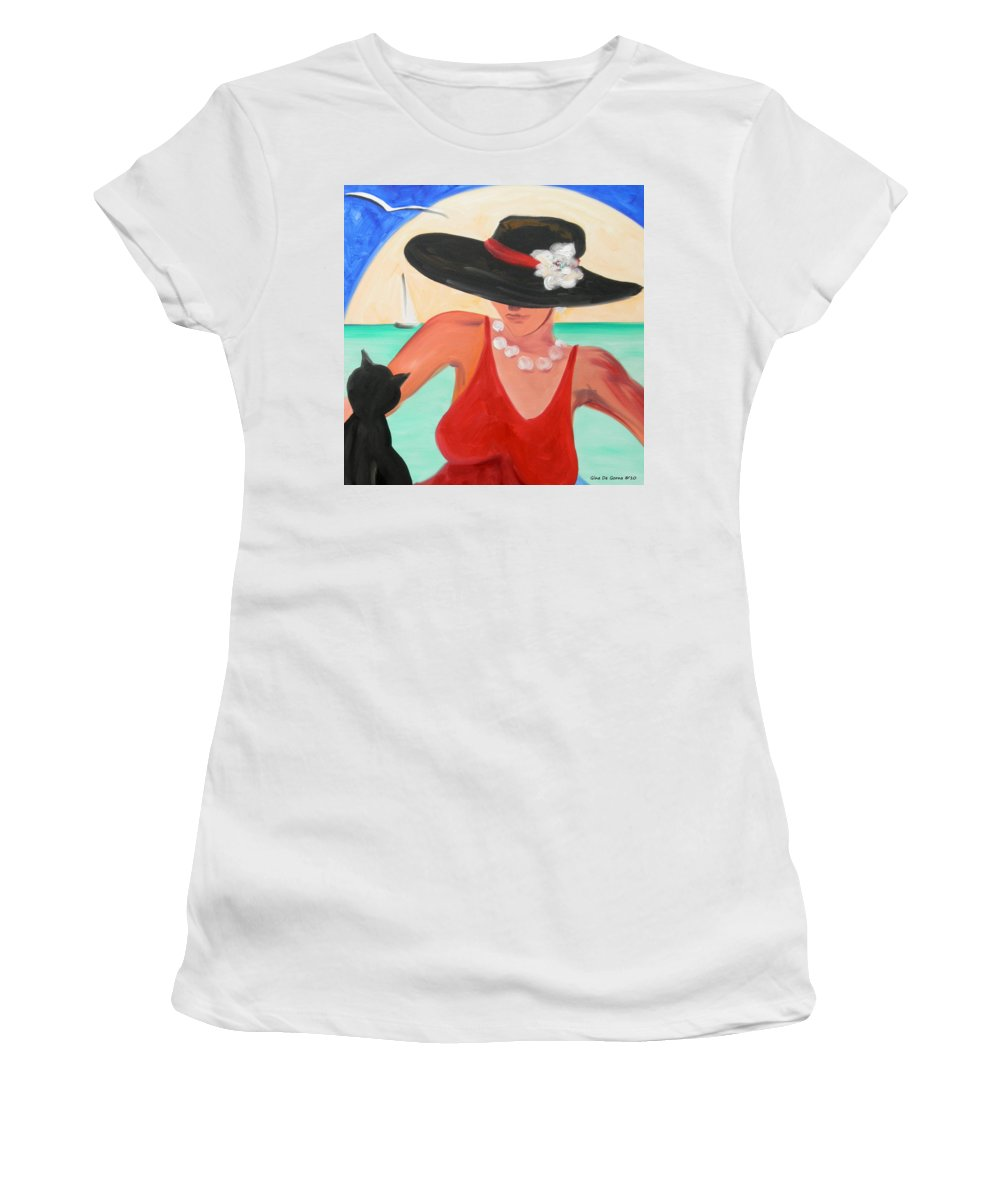 Lady Women's T-Shirt (Athletic Fit) featuring the painting Living The Dream by Gina De Gorna