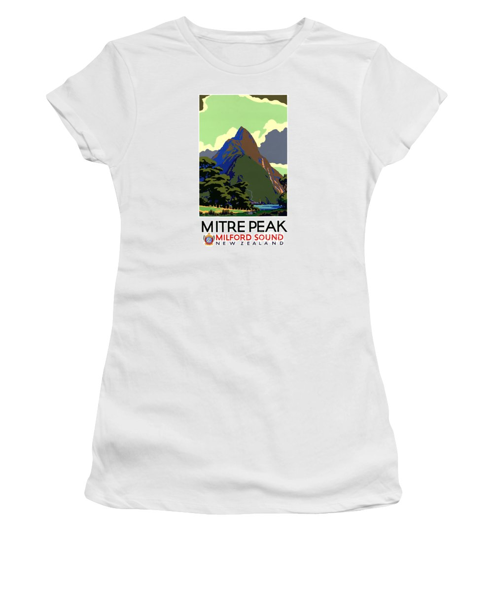 Travel Women's T-Shirt (Athletic Fit) featuring the painting New Zealand Vintage Travel Poster Restored by Carsten Reisinger