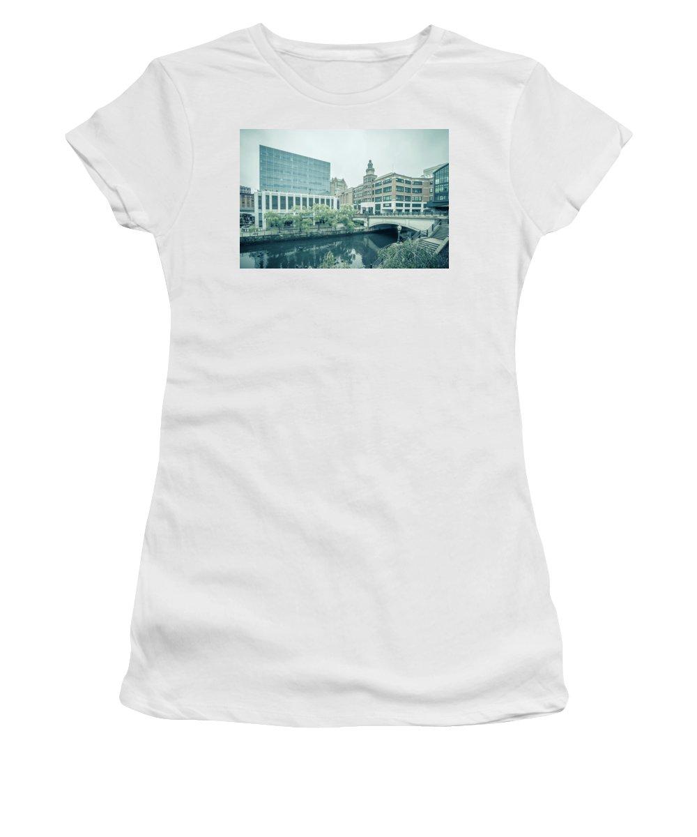 Skyline Women's T-Shirt (Athletic Fit) featuring the photograph Providence Ri City Skyline Autumn Season by Alex Grichenko
