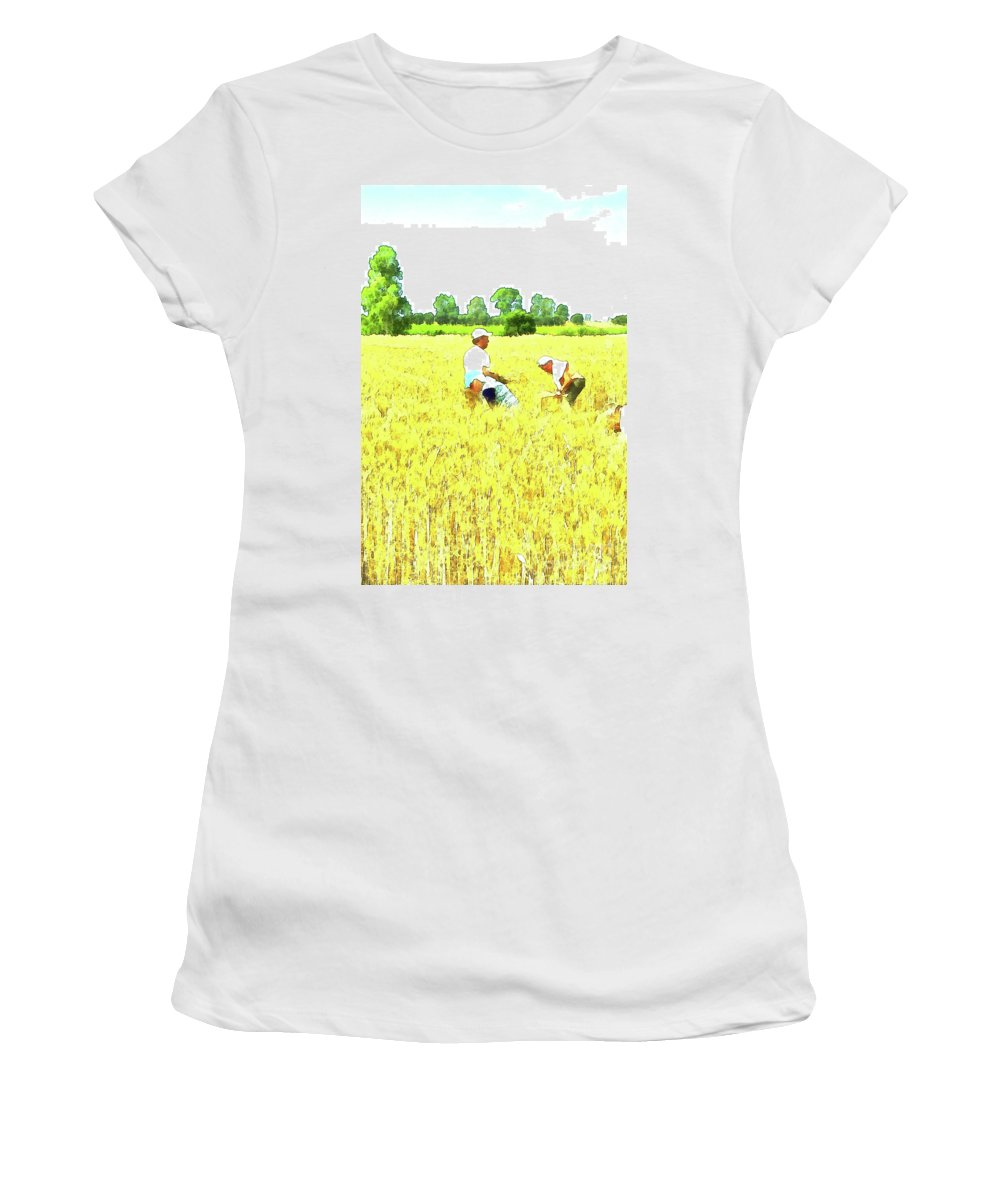 Watercolor Women's T-Shirt (Athletic Fit) featuring the digital art Reapers by Giuseppe Cocco