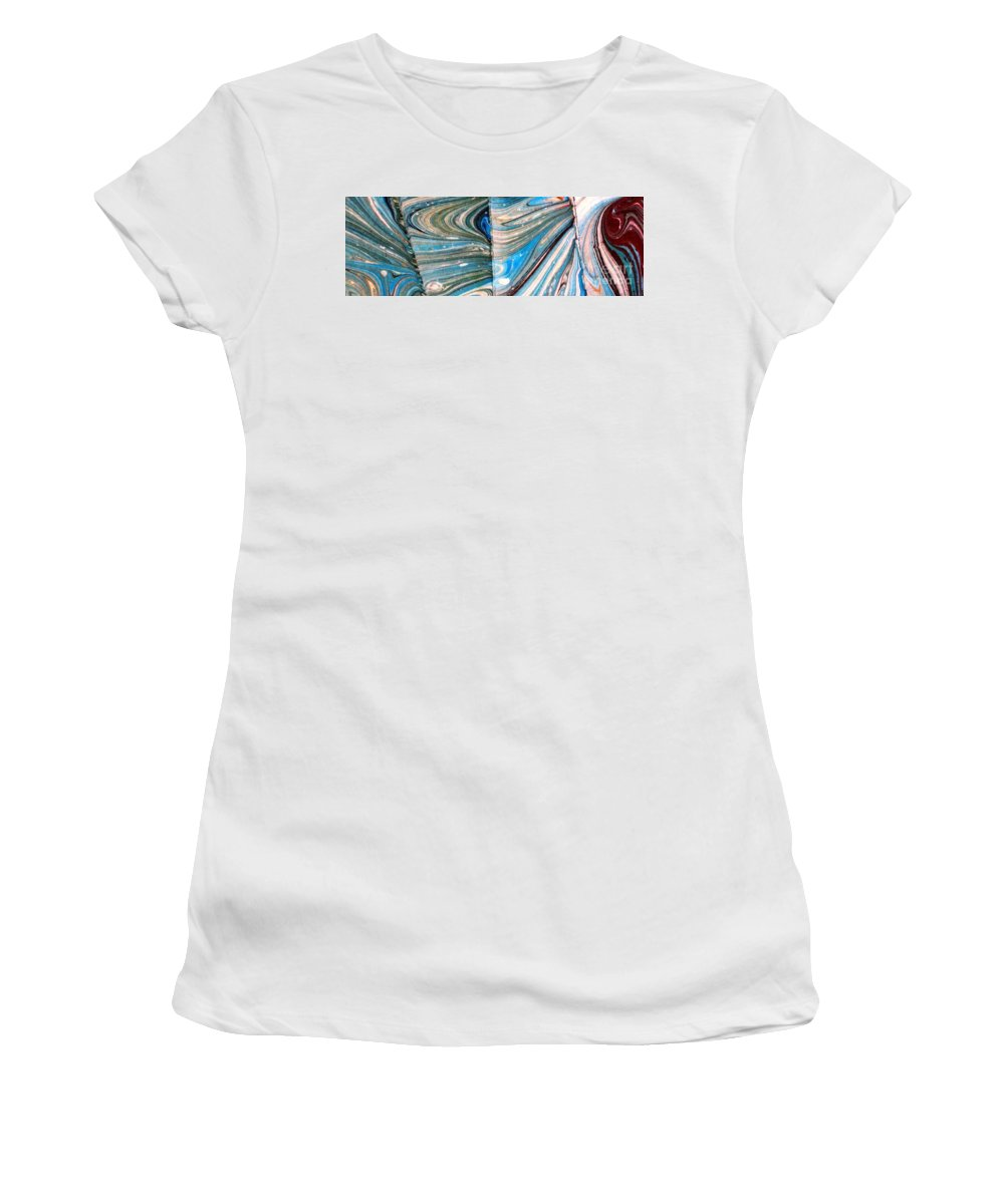Abstract Women's T-Shirt featuring the painting Water Marbling Art, Ebru by Dilan C