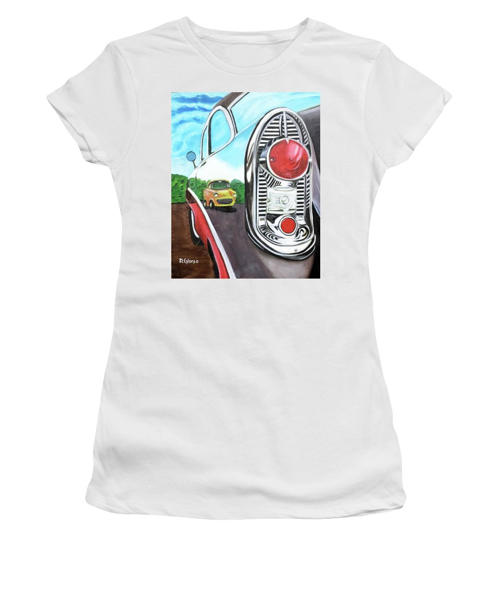 Glorso Women's T-Shirt (Athletic Fit) featuring the painting 56 Chevy Reflections by Dean Glorso