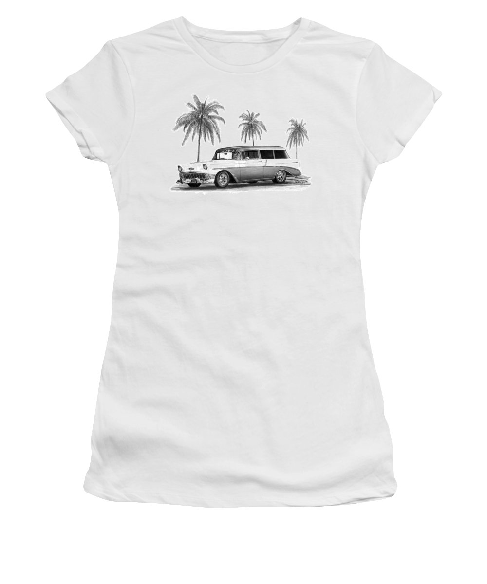 1957 Chevrolet Wagon Women's T-Shirt (Athletic Fit) featuring the drawing 56 Chevy Wagon by Peter Piatt