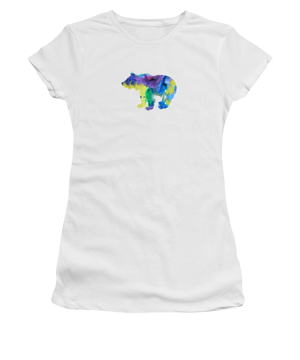 Bear Women's T-Shirt (Athletic Fit) featuring the painting Bear Cub by Steph J Marten