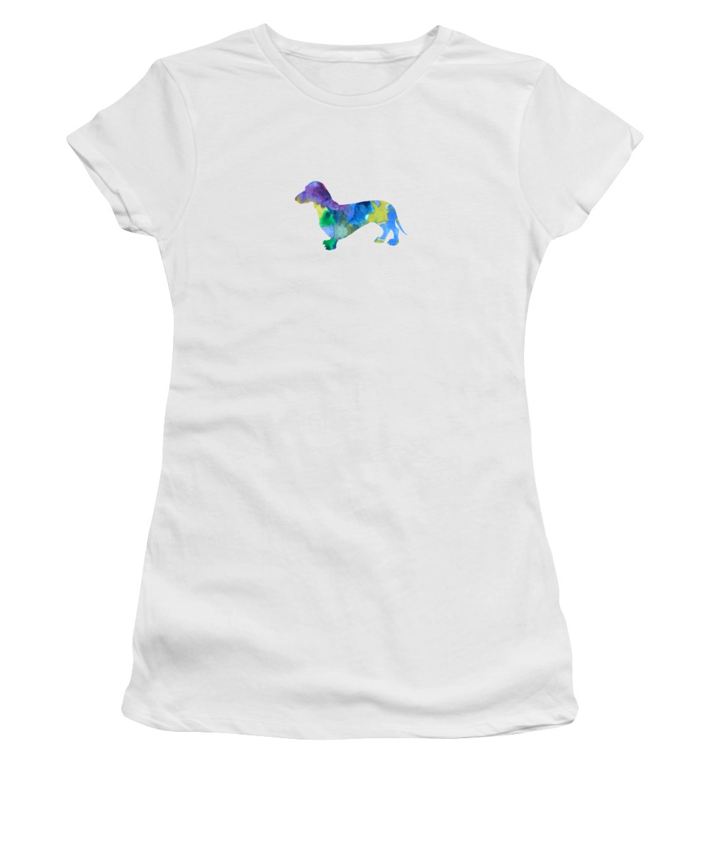 Dachshund Women's T-Shirt (Athletic Fit) featuring the painting Dachshund by Steph J Marten